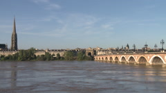 Bordeaux Stone bridge Stock Footage