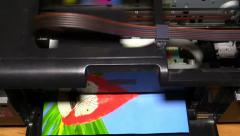 Inkjet printer prints the picture Stock Footage