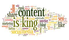 Content is king conept in word tag cloud - stock illustration