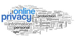 Online privacy in word tag cloud - stock illustration
