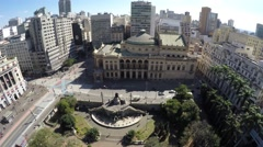 Aerial View of Municipal Theater in Anhangabau Valley in Sao Paulo, Brazil Stock Footage