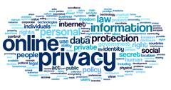 Online privacy in word tag cloud Stock Illustration