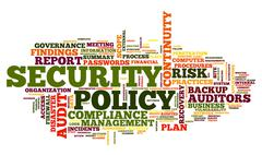 Security policy in word tag cloud - stock illustration