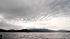 Cloudy landscape of Attersee Stock Footage