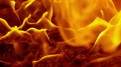 SLOW MOTION: fire flames in a fireplace. - stock footage