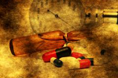 Pills and medicine vial Stock Photos