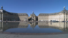 Bordeaux stock market place water mirror Stock Footage