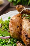 Grilled organic bio chicken - stock photo