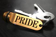Pride written on Golden Keyring Stock Illustration