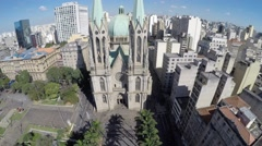 Aerial View of Se Cathedral in Sao Paulo, Brazil Stock Footage
