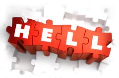 Stock Illustration of Hell - Text on Red Puzzles