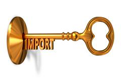 Import - Golden Key is Inserted into the Keyhole - stock illustration