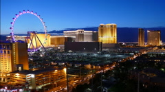 Las Vegas Strip Resorts and High Roller Time Lapse Stock Footage