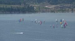 Sailboats on the lake, regatta Stock Footage