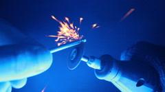 Hones (cuts) screw on sanding tool Stock Footage