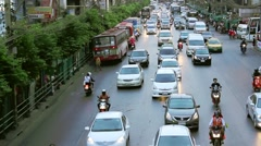 Everyday big traffic flows on roads Bangkok - stock footage