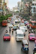Everyday big traffic flows on roads Bangkok - stock photo