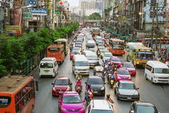 Ordinary big traffic flows on roads Bangkok Stock Photos