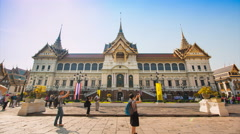 The Chakri Maha Prasat Grand Palace Of Bangkok, Thailand (time lapse) Stock Footage