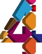 3d font number 4 - stock illustration