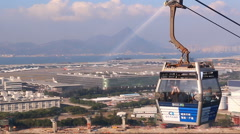 Ngong Ping 360 Cable Car Of Hong Kong (pan shot) Stock Footage
