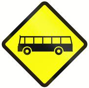 Bus Warning Sign In Indonesia Stock Illustration