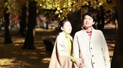 Japanese mature couple relaxing in a city park in Autumn Stock Footage