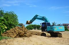 BackHoe Excavator Machine working at construction Site Stock Photos