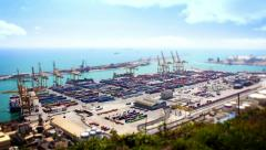 Barcelona Port Panorama, Tile Shift, Time Lapse, Spain Stock Footage