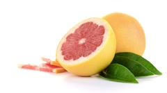 Ripe cut red grapefruit Stock Footage