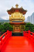 Golden Pavilion of Nan Lian Garden, Hong Kong Stock Photos
