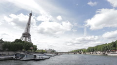 The iconic Eiffel tower is one of the most visited monuments Stock Footage