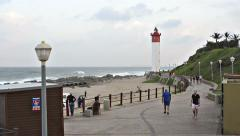 People at the Lighthouse in Umhlanga Rocks Stock Footage
