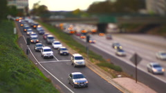 Off ramp tilt shift focus Stock Footage