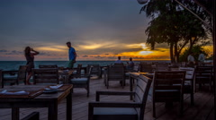 Dining sunset on the deck Stock Footage