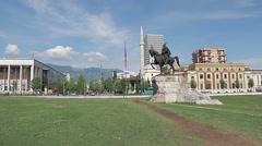 Tirana Skanderbeg Square Stock Footage