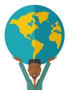 Black Businessman carrying big globe - stock illustration