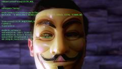 Hacker Anonymous Mask Green Code Stock Footage