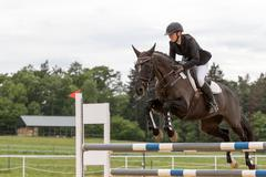 Young horsewoman is jumping on dark brown horse - stock photo