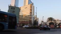 Street Scene in Providencia, Santiago, Chile - Buses, Pedestrians, Cars Visib Stock Footage