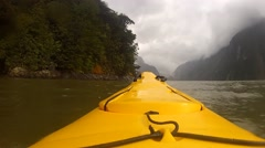 Kayaking on Milford Sound New Zealand Stock Footage