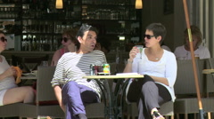 Cafe Patrons - Amboise France - stock footage