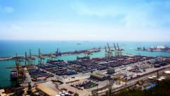 Barcelona Port Panorama, Tile Shift, Spain Stock Footage