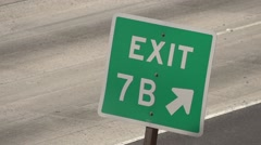 Exit sign freeway Stock Footage