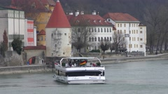 4K footage of an excursion riverboat on the Inn river in Passau, Germany Stock Footage