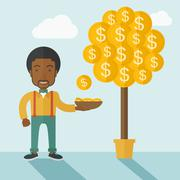 Successful African businessman standing while catching a dollar coin from money Stock Illustration