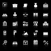 Mortgage and home loan icons with reflect on black background Stock Illustration