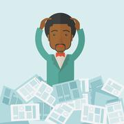 Black guy with paper works around him Stock Illustration