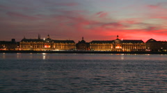 Bordeaux stock market place sunset Stock Footage