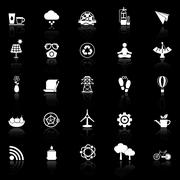 Clean concept icons with reflect on black background Stock Illustration